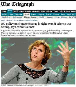 """EU-Klimakommissarin Hedegaard äußerte sich im """"Telegraph"""""""